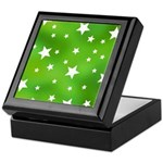 Lime Green Star Pattern Keepsake Box