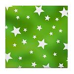 Lime Green Star Pattern Tile Coaster