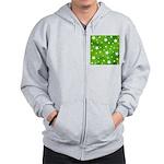 Lime Green Star Pattern Zip Hoodie
