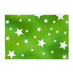 Lime Green Star Pattern 5'x7'Area Rug