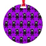 Purple and Black Ninja Bunny Pattern Ornament