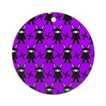 Purple and Black Ninja Bunny Pattern Ornament (Rou
