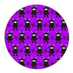Purple and Black Ninja Bunny Pattern Round Car Mag