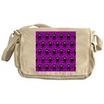 Purple and Black Ninja Bunny Pattern Messenger Bag