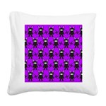 Purple and Black Ninja Bunny Pattern Square Canvas