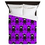 Purple and Black Ninja Bunny Pattern Queen Duvet