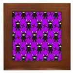 Purple and Black Ninja Bunny Pattern Framed Tile