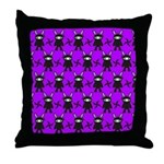 Purple and Black Ninja Bunny Pattern Throw Pillow
