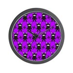 Purple and Black Ninja Bunny Pattern Wall Clock