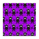 Purple and Black Ninja Bunny Pattern Tile Coaster