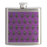 Purple and Black Ninja Bunny Pattern Flask