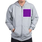 Purple and Black Ninja Bunny Pattern Zip Hoodie