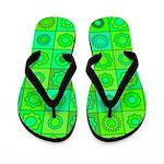 Green Hippie Flower Pattern Flip Flops