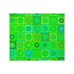 Green Hippie Flower Pattern Throw Blanket