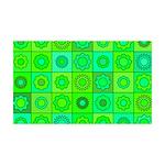 Green Hippie Flower Pattern 35x21 Wall Decal
