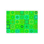 Green Hippie Flower Pattern 5'x7'Area Rug