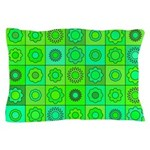 Green Hippie Flower Pattern Pillow Case