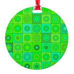 Green Hippie Flower Pattern Round Ornament