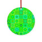 Green Hippie Flower Pattern Ornament (Round)