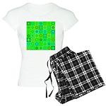 Green Hippie Flower Pattern Women's Light Pajamas
