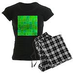Green Hippie Flower Pattern Women's Dark Pajamas