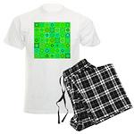 Green Hippie Flower Pattern Men's Light Pajamas