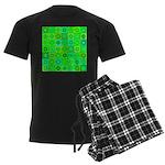 Green Hippie Flower Pattern Men's Dark Pajamas