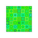 Green Hippie Flower Pattern Square Sticker 3
