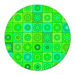 Green Hippie Flower Pattern Round Car Magnet