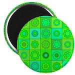 Green Hippie Flower Pattern Magnet
