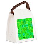Green Hippie Flower Pattern Canvas Lunch Bag