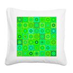 Green Hippie Flower Pattern Square Canvas Pillow