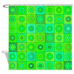 Green Hippie Flower Pattern Shower Curtain