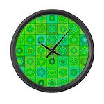 Green Hippie Flower Pattern Large Wall Clock