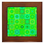 Green Hippie Flower Pattern Framed Tile