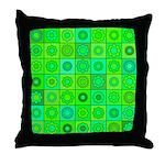 Green Hippie Flower Pattern Throw Pillow