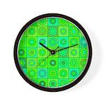Green Hippie Flower Pattern Wall Clock