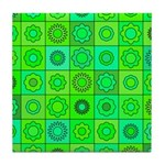 Green Hippie Flower Pattern Tile Coaster