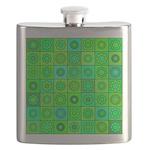 Green Hippie Flower Pattern Flask