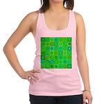 Green Hippie Flower Pattern Racerback Tank Top