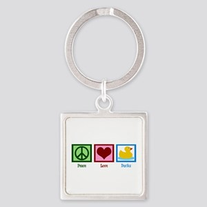 Peace Love Ducks Square Keychain