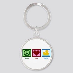 Peace Love Ducks Round Keychain
