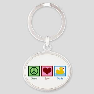 Peace Love Ducks Oval Keychain