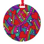 Heart and Rainbow Pattern Ornament