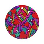 Heart and Rainbow Pattern Ornament (Round)