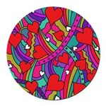 Heart and Rainbow Pattern Round Car Magnet