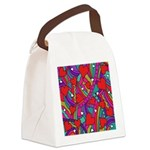 Heart and Rainbow Pattern Canvas Lunch Bag