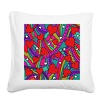 Heart and Rainbow Pattern Square Canvas Pillow