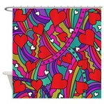 Heart and Rainbow Pattern Shower Curtain