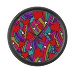 Heart and Rainbow Pattern Large Wall Clock